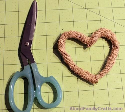 How to trim burlap strings from heart