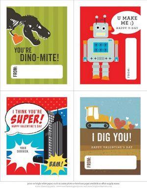 Printable School Valentines for Boys