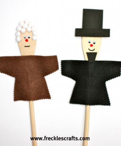 Presidents Day Puppets using Wooden Spoons