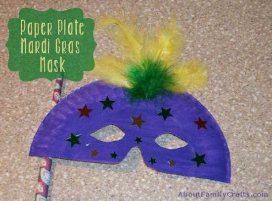 How to Make a Paper Plate Mardi Gras Mask & How to Make a Paper Plate Mardi Gras Mask u2013 About Family Crafts