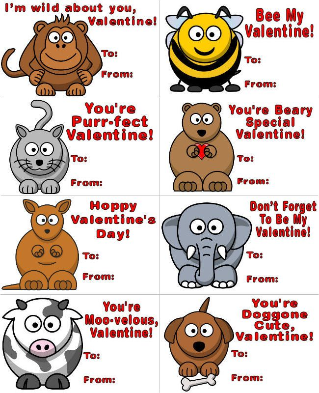 Silly Animals Printable Valentines