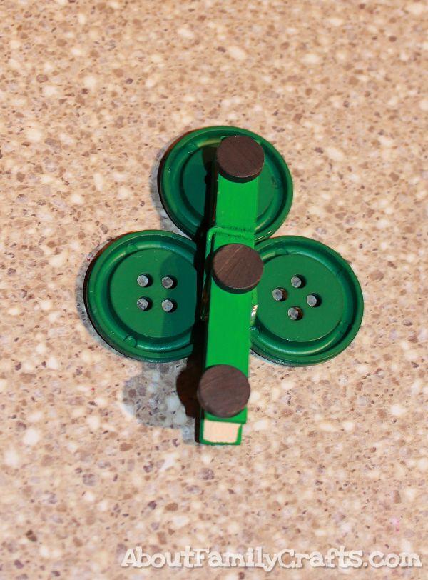 glue magnets onto shamrock