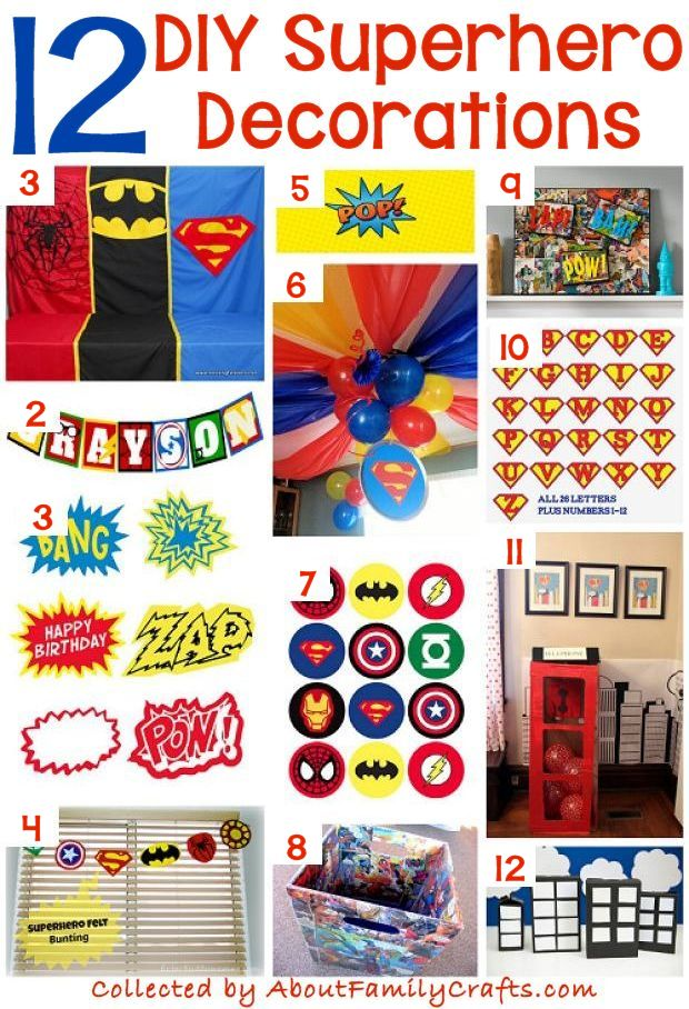 12 Superhero DIY Decorations  sc 1 st  About Family Crafts & 70+ DIY Superhero Party Ideas u2013 About Family Crafts