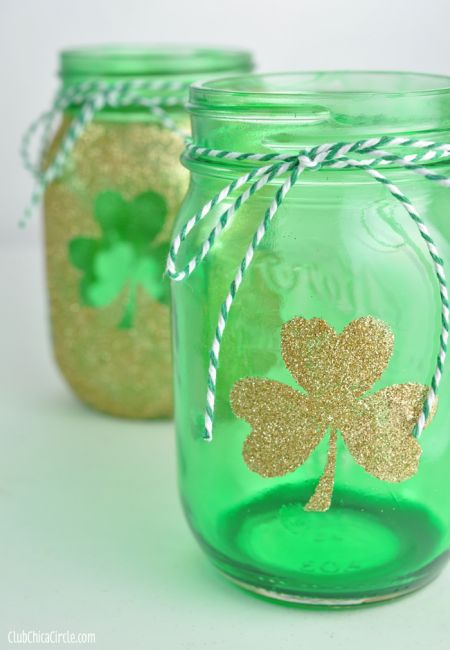 Hand Tinted Shamrock Mason Jars Craft