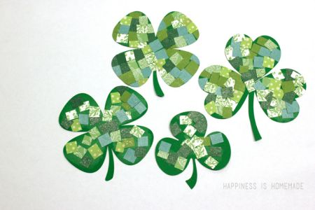 Mosaic Paper Shamrocks Craft