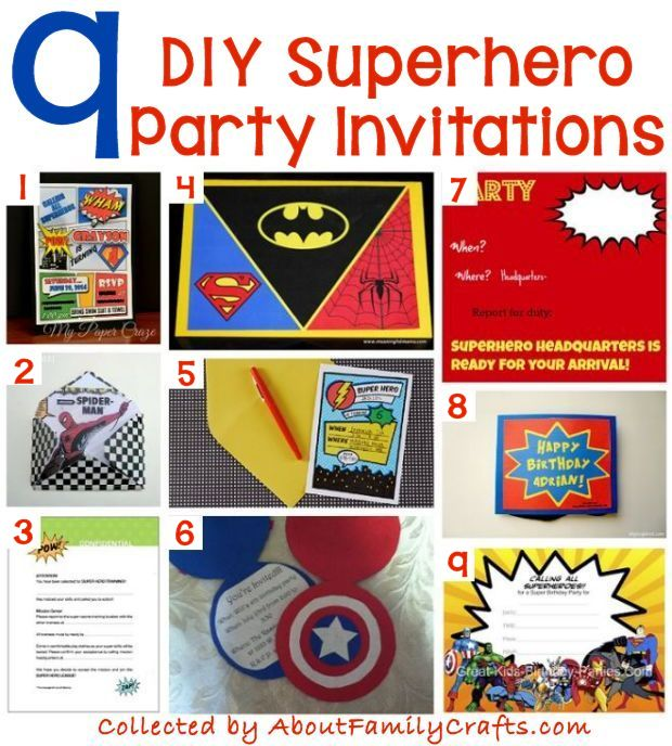 70 DIY Superhero Party Ideas About Family Crafts – Superheroes Party Invitations