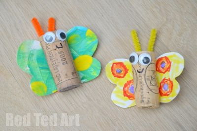 Rainbow Butterfly Cork Craft