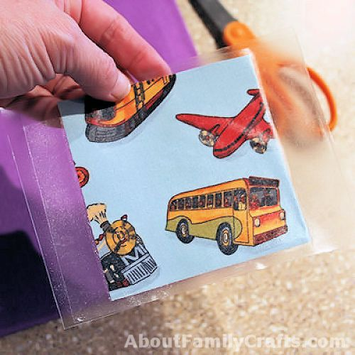 How to put clear con-tact paper on the i spy cards