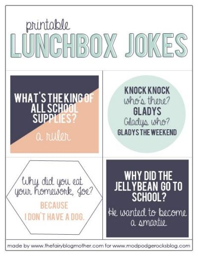 Printable Lunch Box Jokes from Mod Podge Rocks
