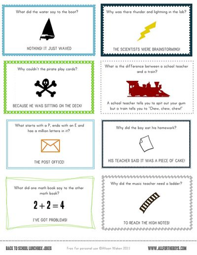 Free Printable School Lunch Notes and Jokes from All for the Boys