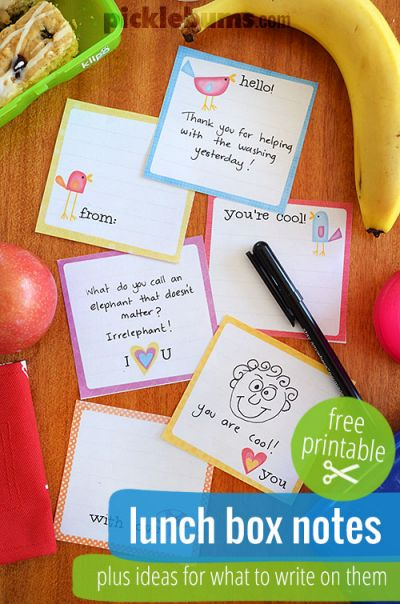 Printable Lunch Box Notes from Picklebums