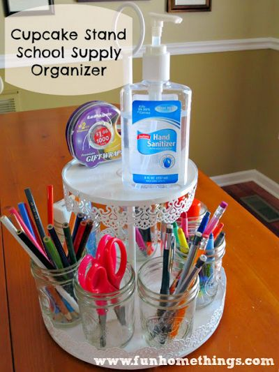 How to Make a Cupcake Stand School Supply Organizer
