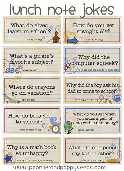 School Jokes - lunch note printables from Peonies and Poppy Seeds