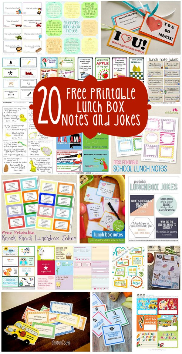 20 Free Printable Lunch Box Notes and Jokes