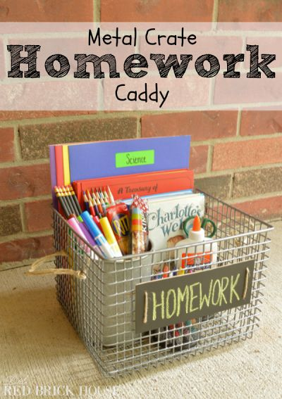 How to Make Metal Crate Homework Caddy