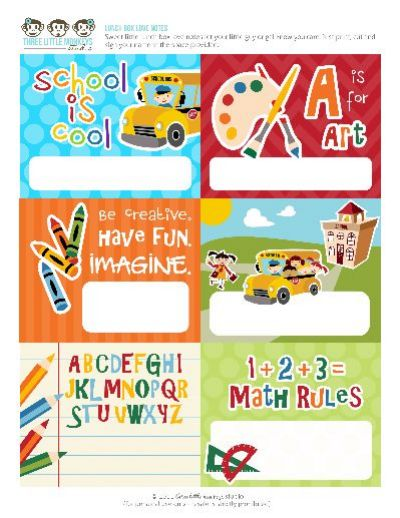 Back to School Lunch Box Love Notes from Three Little Monkeys Studio