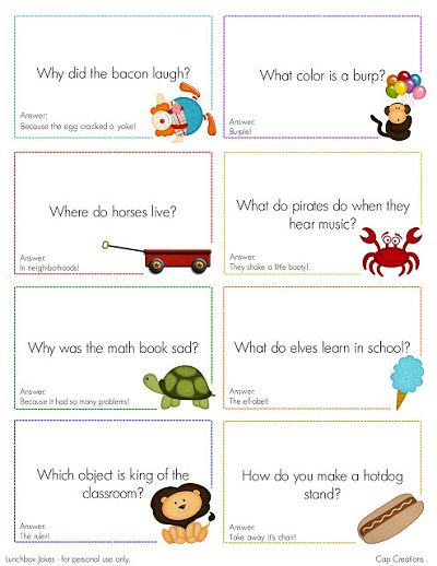 Free Printable Lunch Box Jokes from Cap Creations