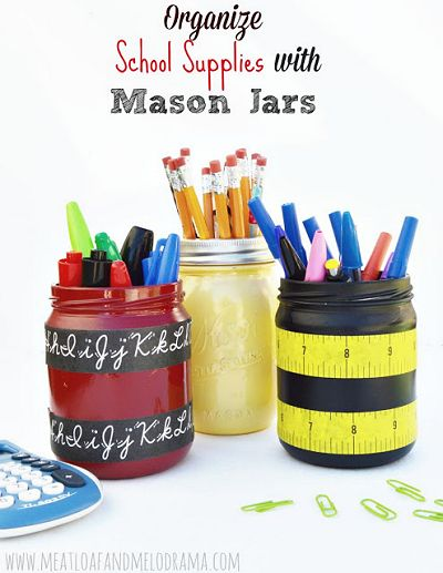 How to Organize School Supplies with Mason Jars