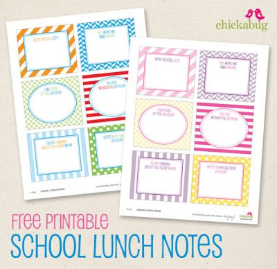 Free Printable School Lunch Notes from The Chickabug Blog