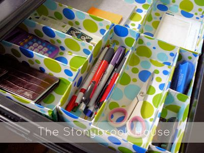 14 diy organizing ideas for back to school about family - Desk drawer paper organizer ...