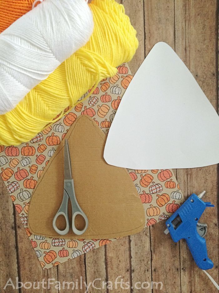 Candy Corn DIY Halloween Decoration supplies