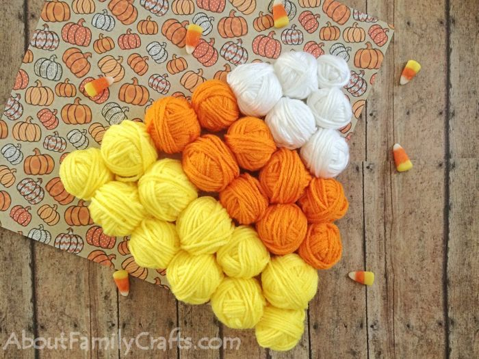 How to glue all yarn balls onto candy corn