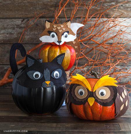 Felt Animal Pumpkins