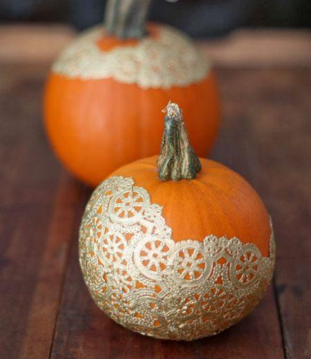 Golden Doily Pumpkins