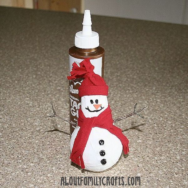 Paper Mache Snowman add arms