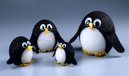 Styrofoam Ball Penguin craft