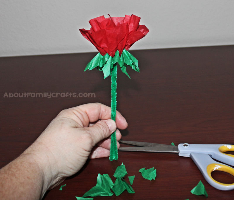 Candy Kiss Tissue Paper Rose cut leaves
