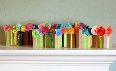 Accordion Folded Spring Flower Collage